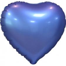 """Шар фольгированный 18"""" сердце «Металлик синий»"""