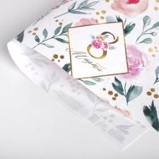Бумага упаковочная белая крафт, 8 Марта, Розы