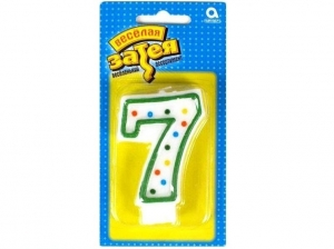 """Свеча-цифра """"7"""" (7,6 см)"""