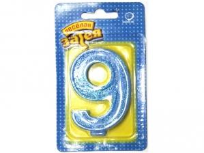 """Свеча для торта с блеском - цифра """"9"""""""