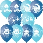 """Шар 12"""" с рисунком """"С днем рождения малыш"""" (голубое ассорти) (1 шт.)"""