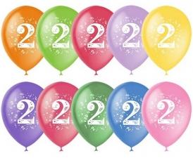 """Шар 12"""" с рисунком """"Цифра 2"""" (1 шт.)"""