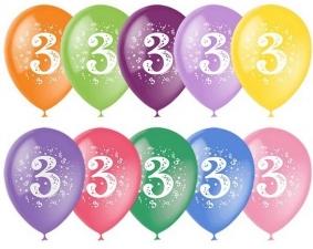 """Шар 12"""" с рисунком """"Цифра 3"""" (1 шт.)"""