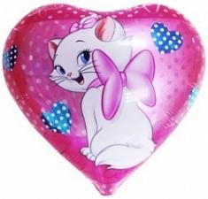 """Шар фольгированный 18"""" сердце """"Кошка с бантиком"""""""