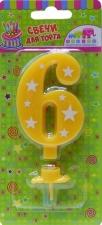 """Свеча-цифра """"6"""" звездочки 8 см с держателем"""