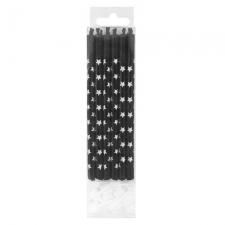 Свечи черные со звездами 9,8 см с держателями (упаковка из 12 шт.)