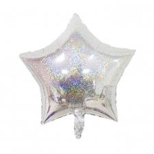 """Шар фольгированный 18"""" звезда «Серебряная голография»"""