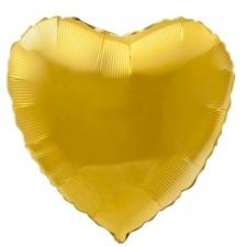 """Шар фольгированный 18"""" сердце «Металлик золотой»"""