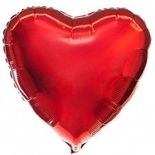 """Шар фольгированный 18"""" сердце «Металлик красный»"""