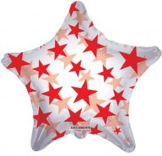 """Шар фольгированный 22"""" звезда «Звёздочки красные»"""